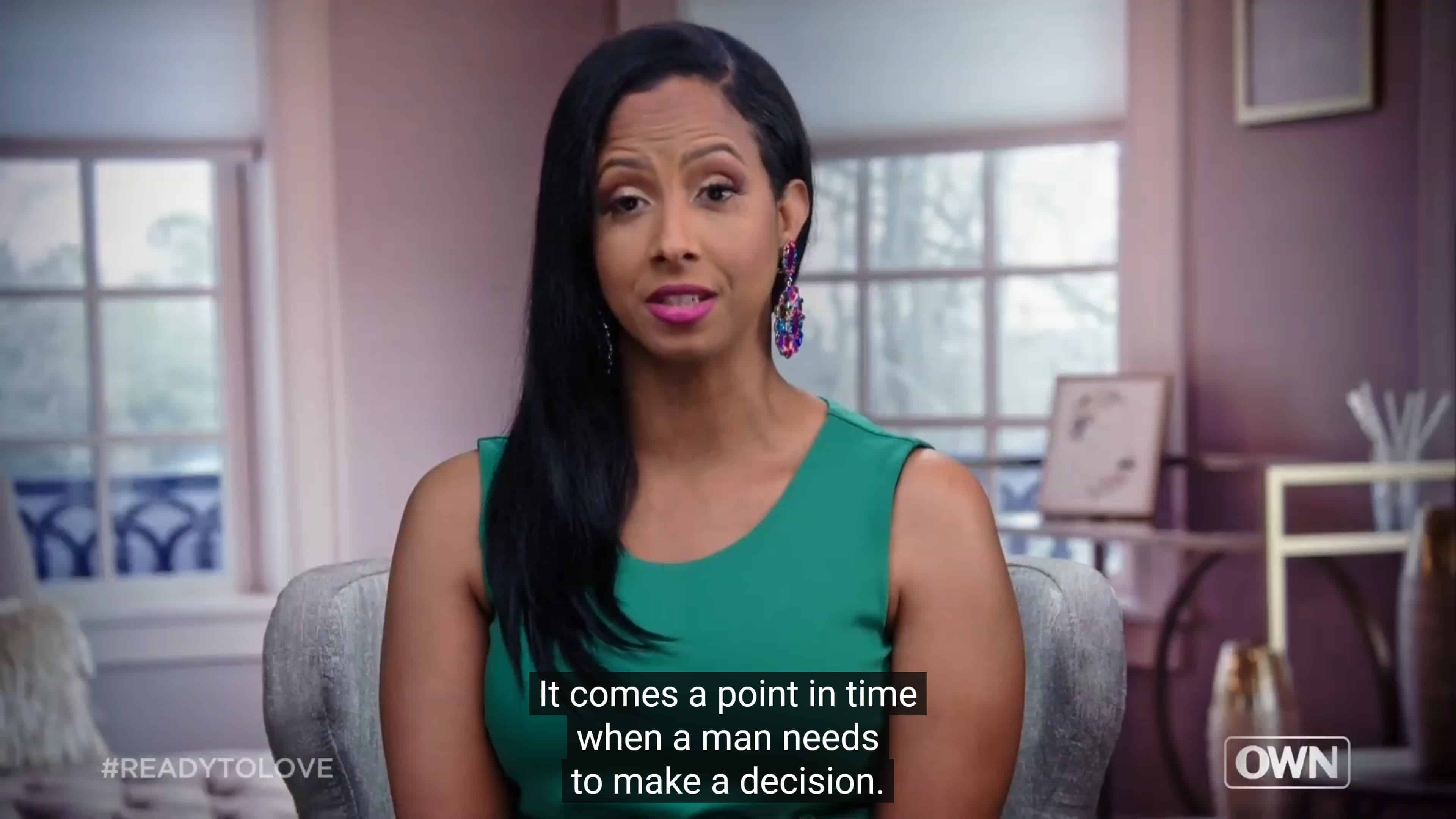 Liz noting there comes a point when a man needs to make a decision