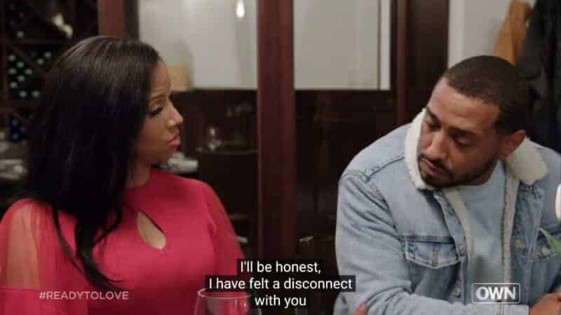 Liz and David during their date, noting a disconnect