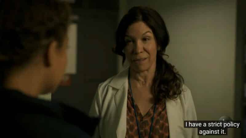 Dr. Saravia (Allegra Fulton) encouraging Claire to stay human