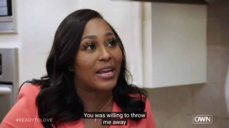 Verneashia confronting Joel about him choosing Kyra to end the journey with during a gentlemen's lounge conversation