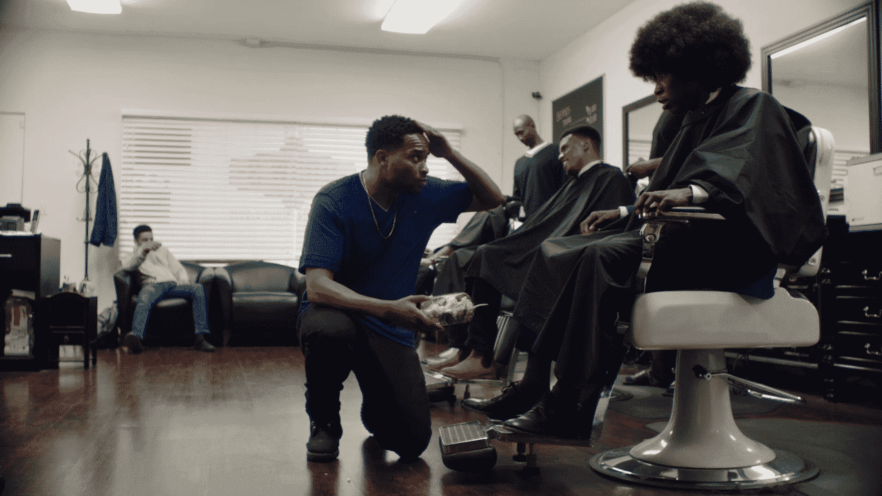Otto and Brooks in the barbershop