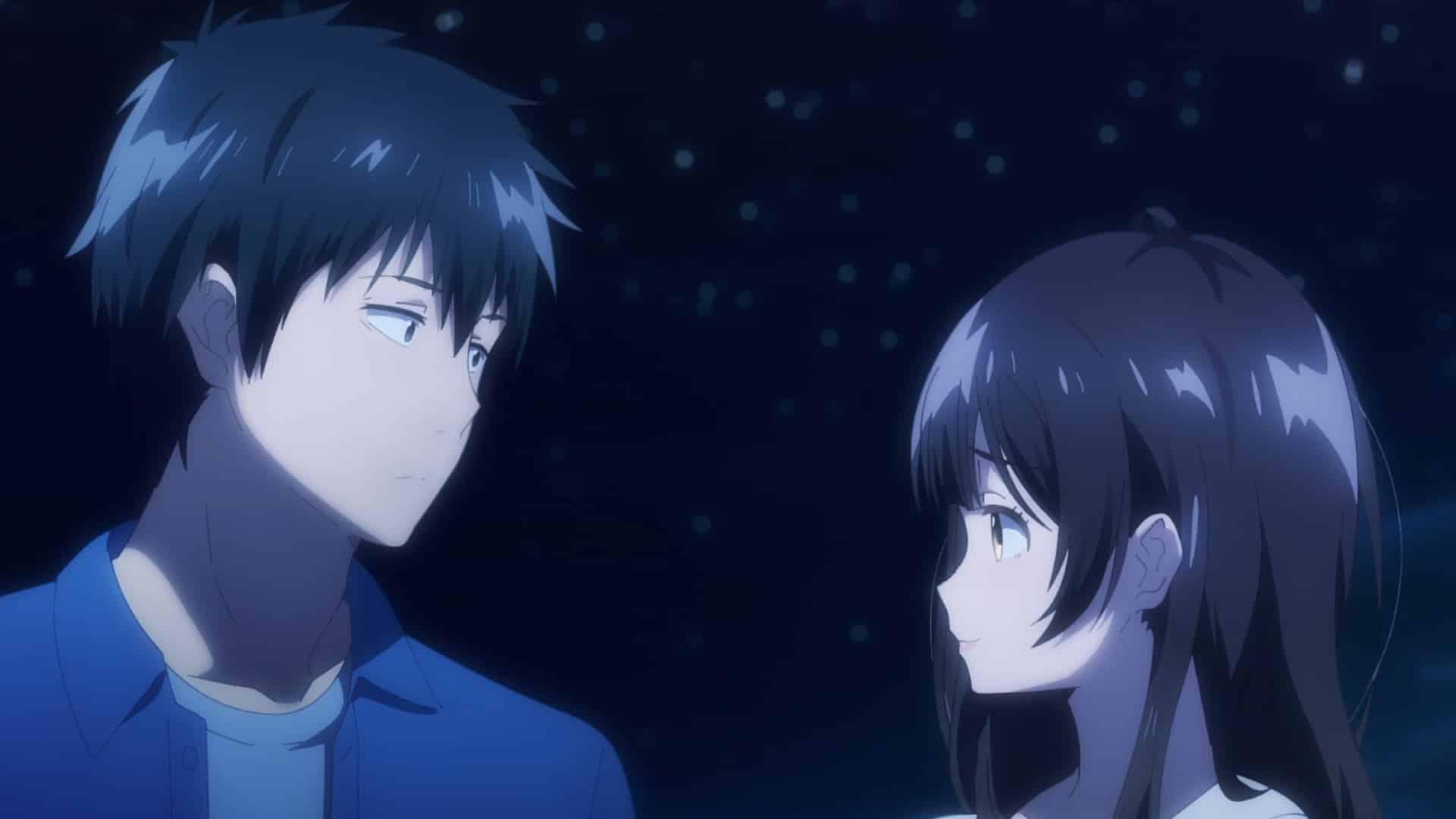 Yoshida and Sayu looking at one another