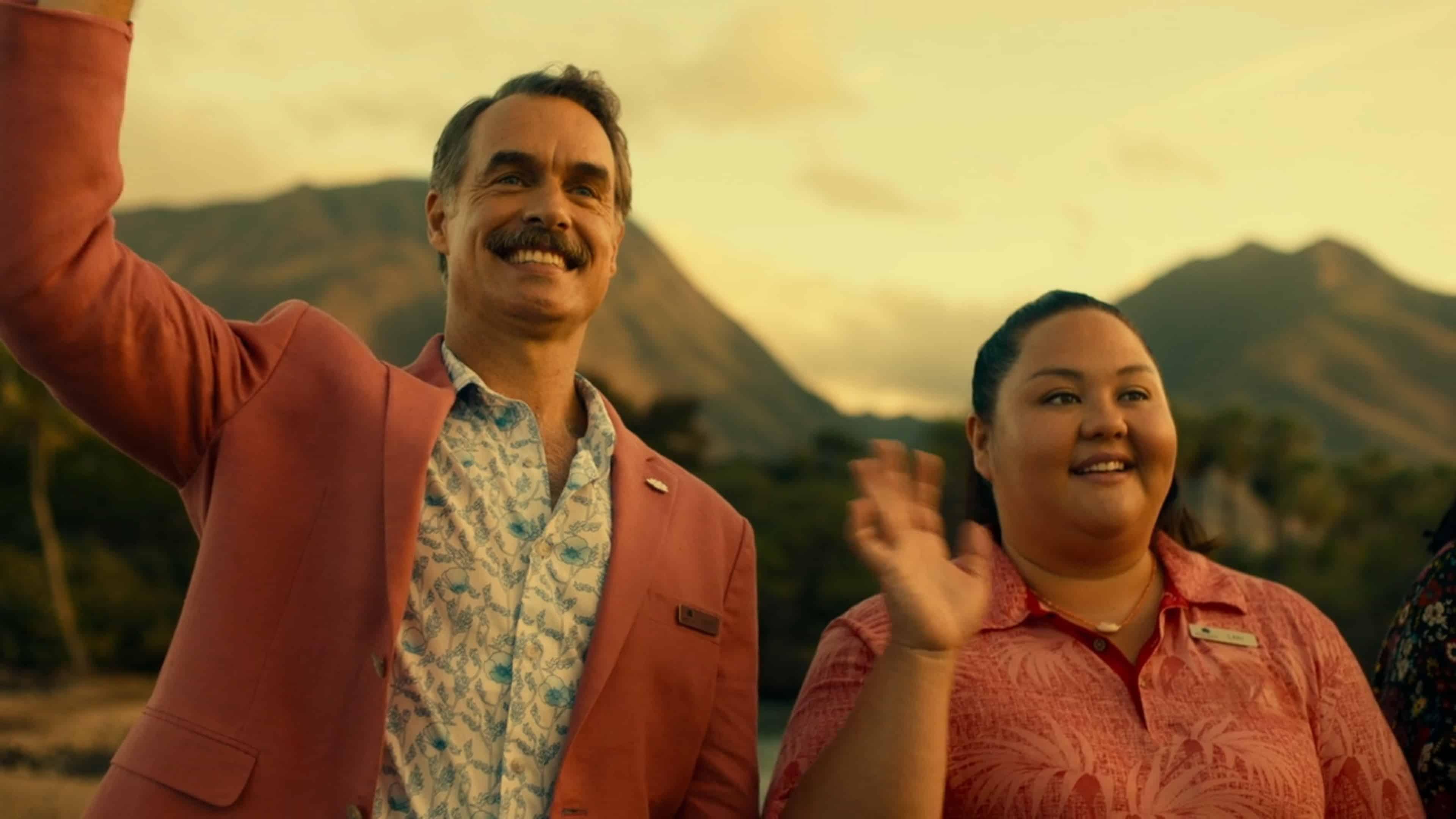 Armond (Murray Bartlett) and Lani (Jolene Purdy) waving