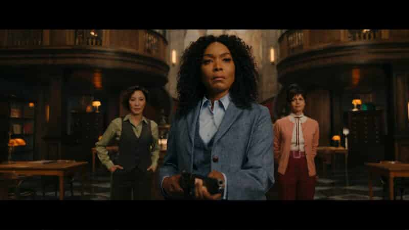 Florence (Michelle Yeoh), Anna May (Angela Bassett), and Madeleine (Carla Gugino) greeting uninvited guests