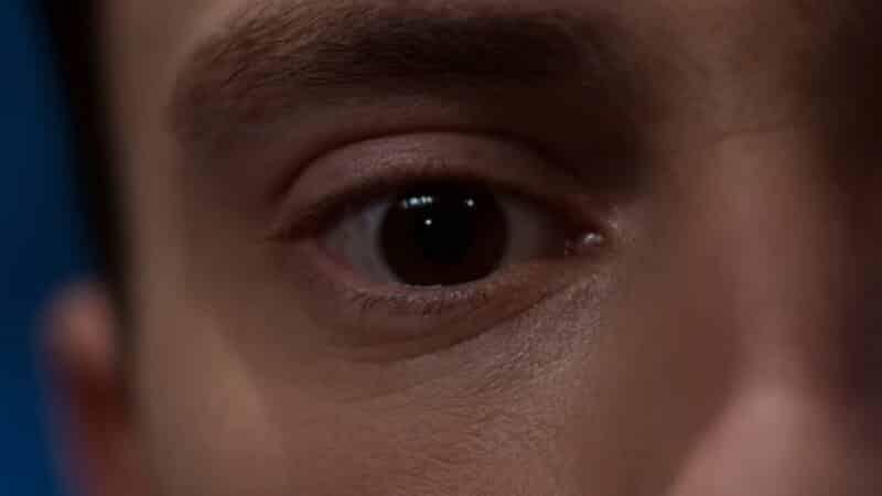 A close up on Sam's eye