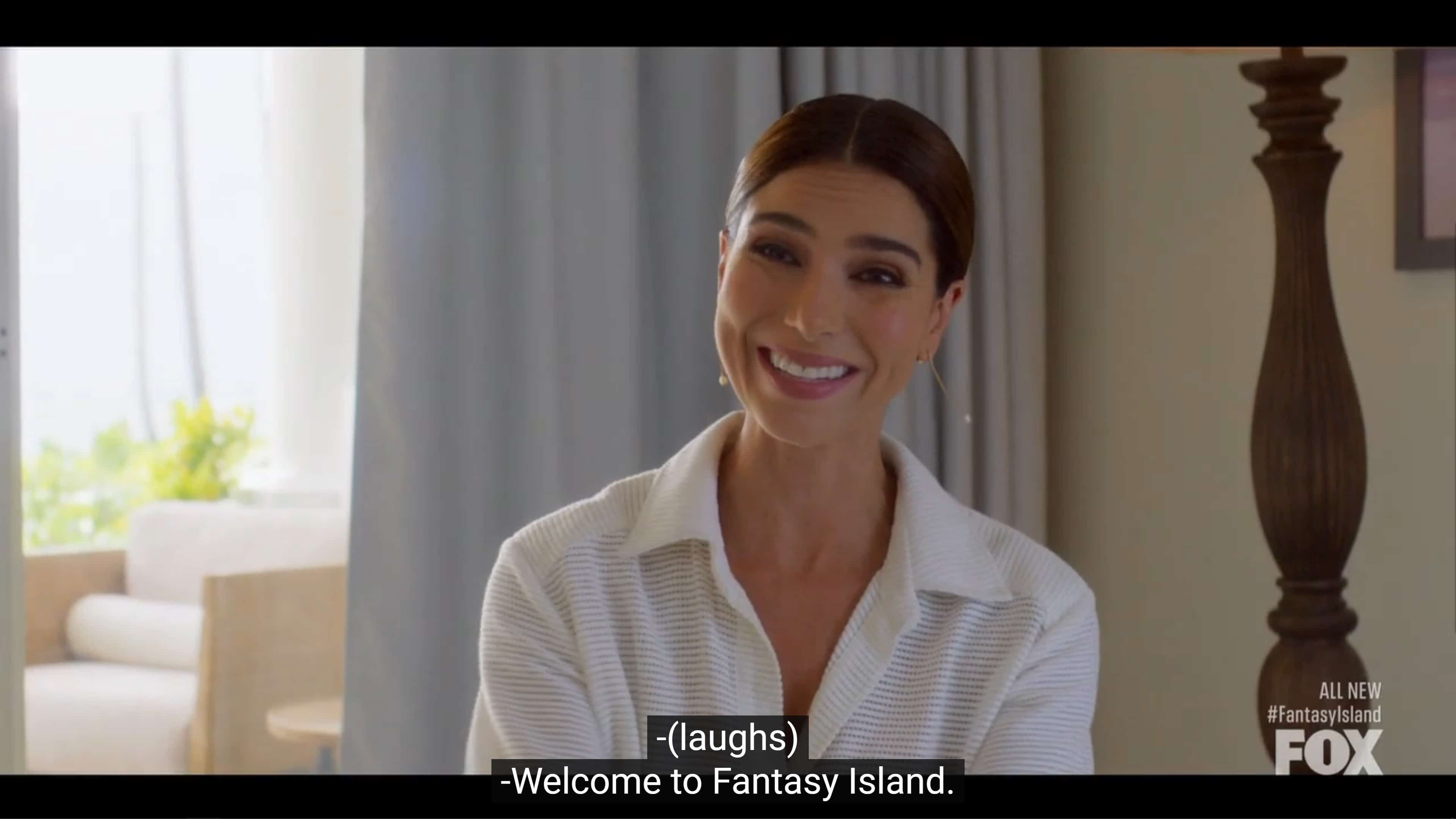 Elena welcoming Professor Wakefield to Fantasy Island