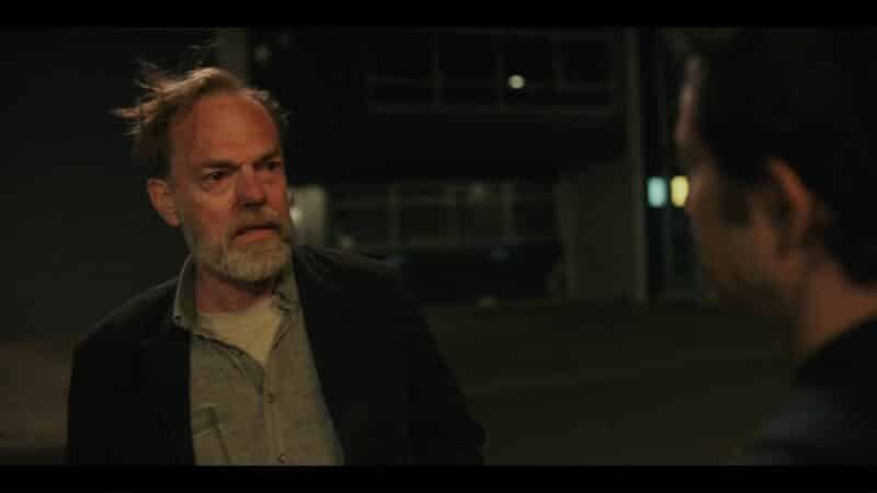 Artie (Hugo Weaving) shocked by his son
