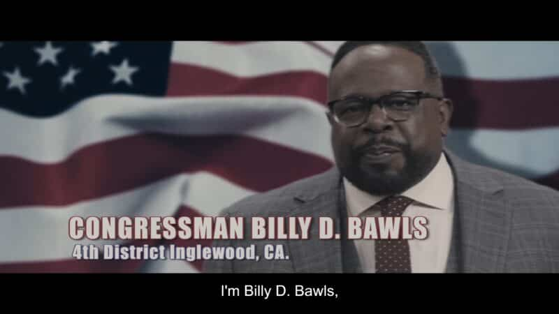Billy D. Bawls (Cedric The Entertainer) in a campaign commercial