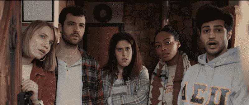 Harper (Juliana Jurenas), Eli (Britt Michael Gordon), Becca (Paige Berkovitz), Meghan (Jarielle Whitney), and Aaron (Peter Evangelista) in What She Said