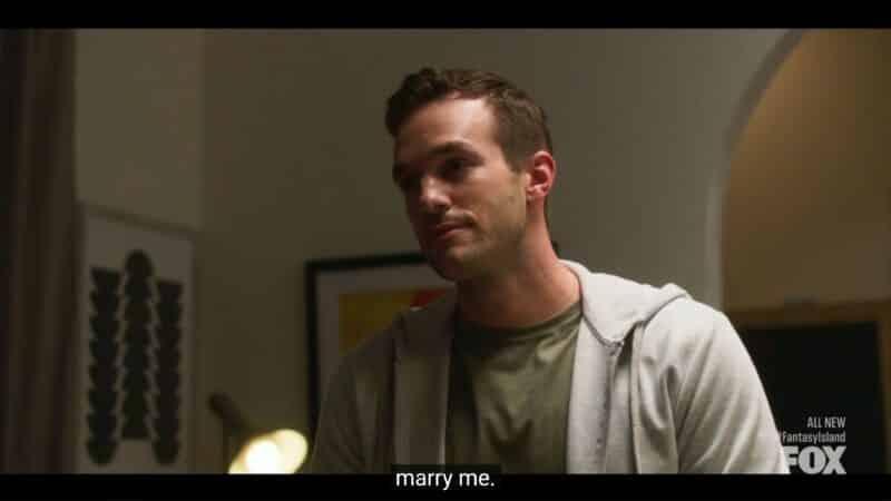 Josh (Andy Favreau) proposing to Nisha
