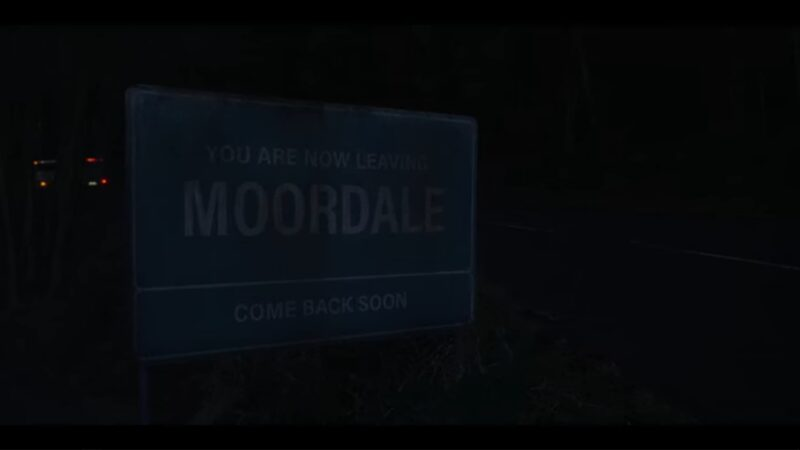 A sign noting that you are leaving Moordale