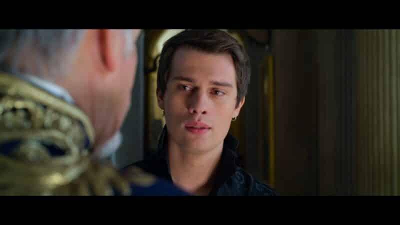 Prince Robert (Nicholas Galitzine) talking to his father