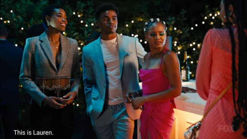 Taylor (Nicole Chanel Williams), Quincy (Kyle Bary), and Lauren (Rhyon Nicole Brown) at one of Leah's parties
