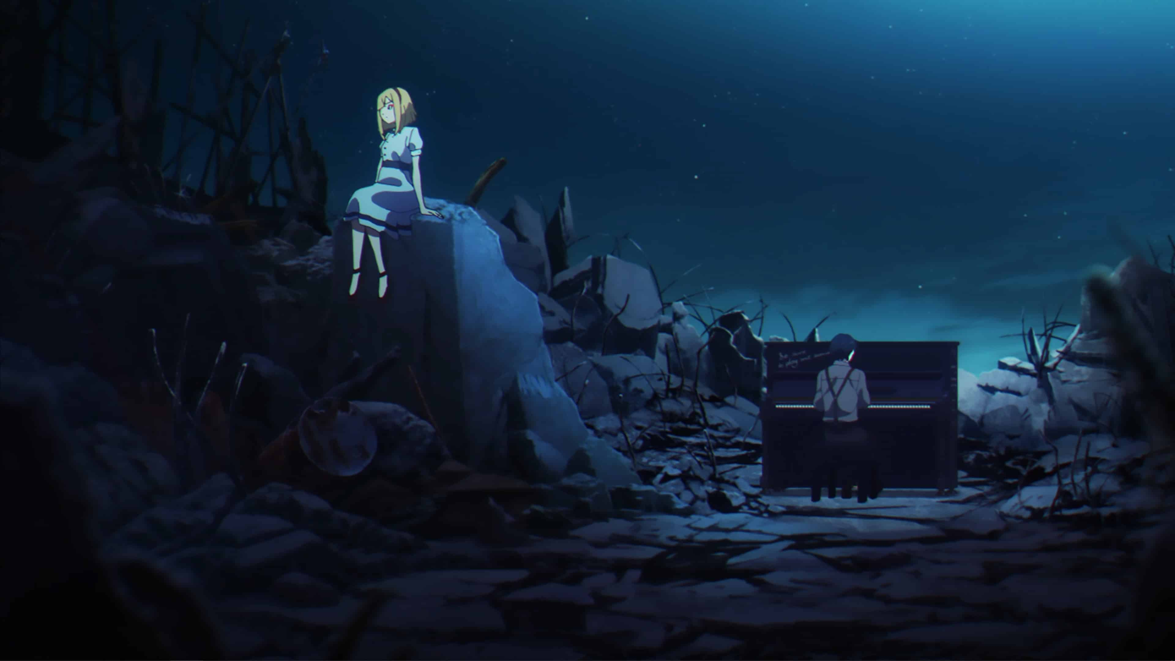 Cosette and Takt sitting within a factory area they destroyed