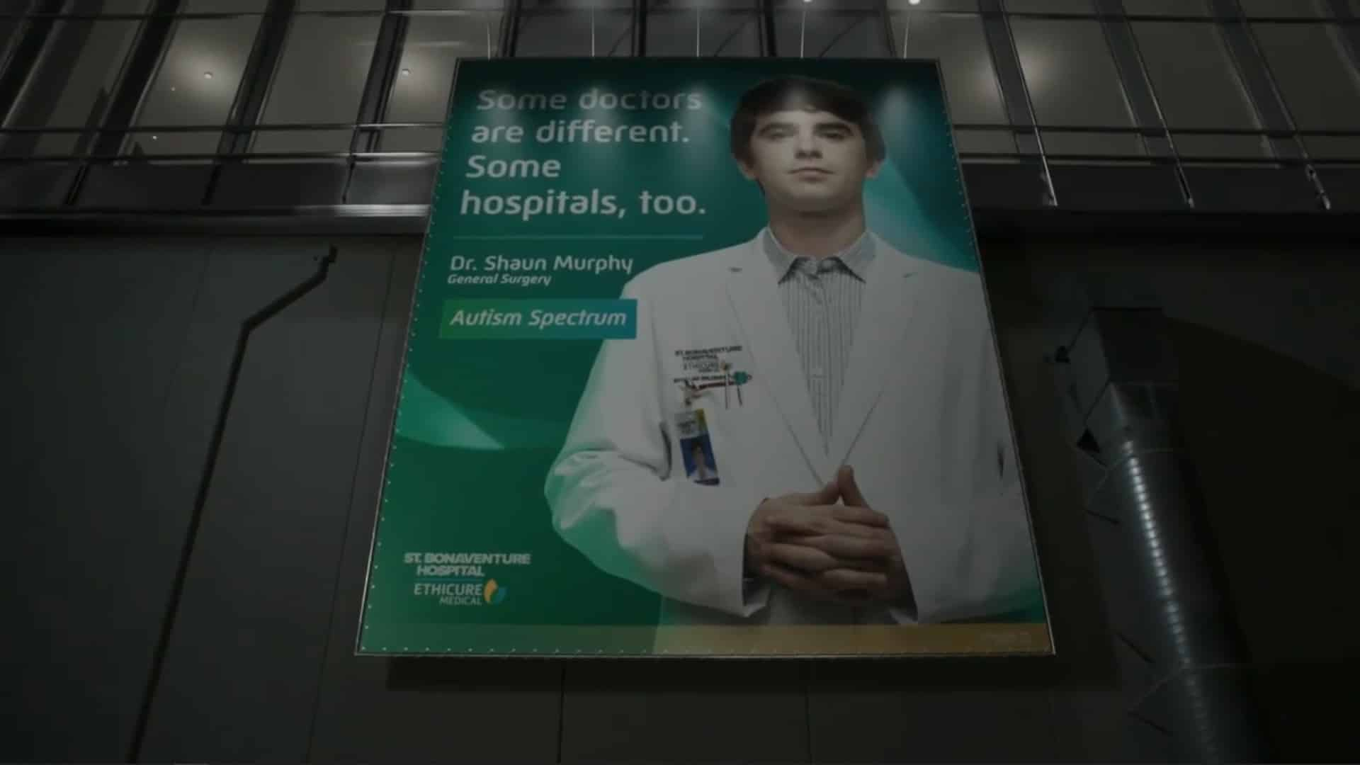 Shaun in a advertisement for the hospital